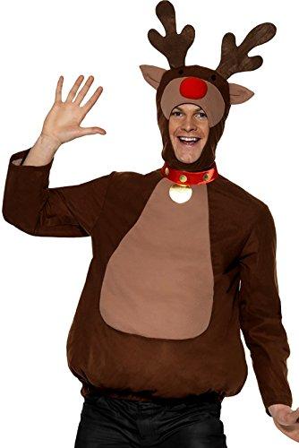 achts Kostüm Unisex Rentier Onesie Einteiler Erwachsenen Kostüme, M, Dunkelbraun (Weihnachts-kostüm Für Erwachsene)