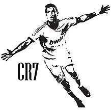 Real Madrid Cristiano Ronaldo CR7–Vinilo Decorativo para pared Póster Mural de adhesivo de vinilo de fútbol, negro, large
