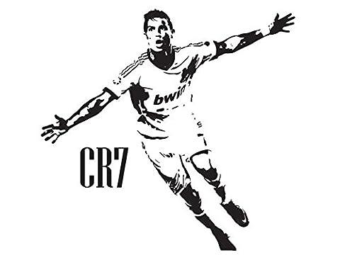 Wand-Aufkleber, Vinyl, CR7, mit Cristiano Ronaldo, Real Madrid, Fußball, schwarz, L