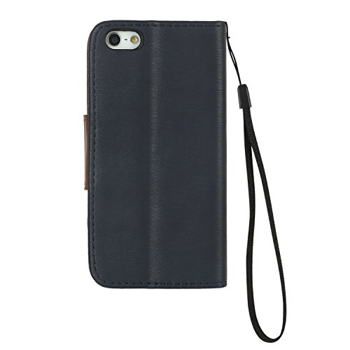 iPhone 5s Hülle Leder, LuckyW PU Leder Hülle für Apple iPhone 5 5S SE TPU Soft Rückseite Abdeckung Ledertasche Flip Wallet Case Kuntsleder im Bookstyle Handyhülle Tasche Protective Shell Folio Klapphü Blau