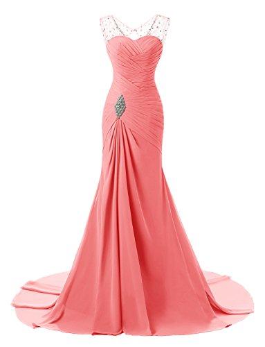 Izanoy Damen Meerjungfrau Ballkleider Chiffon Formalen Abend Brautjungfer Kleid Koralle