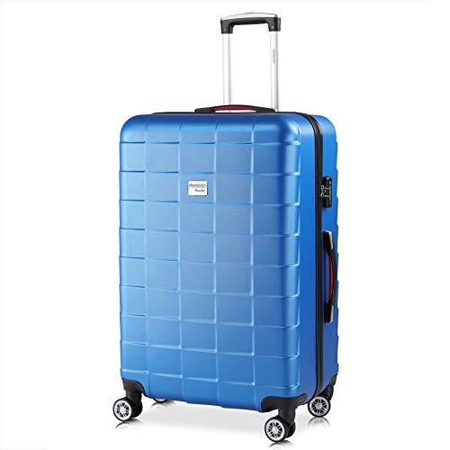 Monzana Hartschale Trolley Koffer   Größe XL   TSA Schloss   Zwillingsrollen   Blau   Reisekoffer Rollkoffer