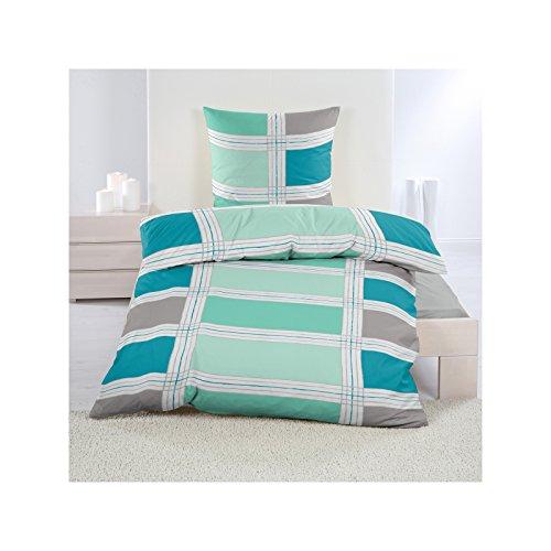 4 tlg. Microfaser Fleece Bettwäsche mit Reißverschluss aus 100% hochwertigem Polyester 135x200 cm Blau Grün Kariert