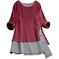 Camiseta de algodón de Lino Talla Grande de Manga Larga para Mujer,Gusspower Blusa de Impresión a Cuadros Casual con Botones Suelto Patchwork Camisa Tops Vestido