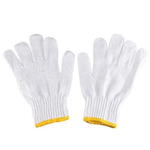 White Knit Glove (ZCHXD 1 Pair Full Finger Elastic Wrist Cuff Knit Cotton Work Gloves Yellow White)