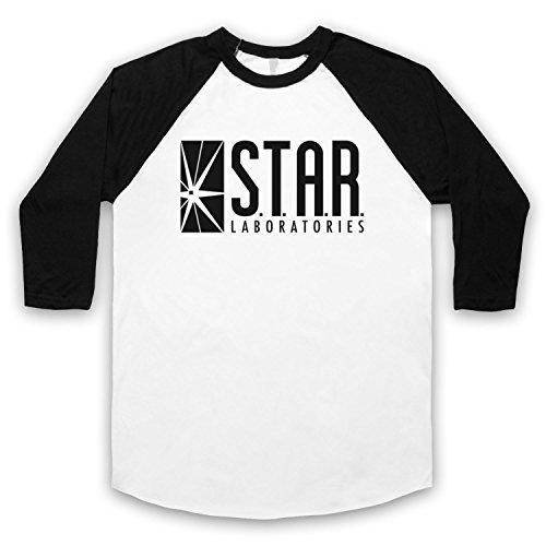 The Flash Star Laboratories 3/4 Hulse Retro Baseball T-Shirt Weis & Schwarz