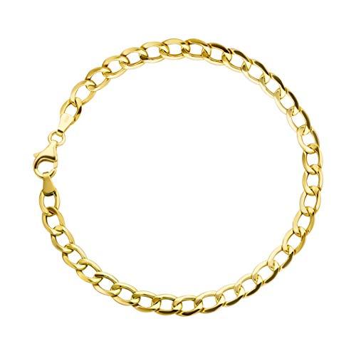 Panzerarmband 14 Karat 585 Gold Armband Gelbgold Breite 5.50 mm - Unisex (21) - Armband Herren 14k Gelb Gold