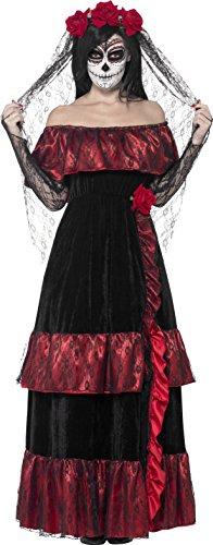 Smiffys, Damen Tag der Toten Braut Kostüm, Kleid und Rosenschleier, Größe: M, (Tanz Kostüme Ideen Für)