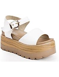 Ideal Shoes - Sandales à plateforme en similicuir Laela