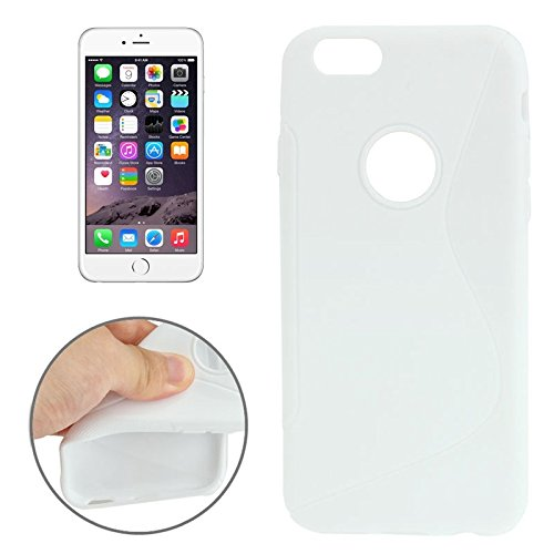 Wkae Case Cover S-Linie Anti-Rutsch-bereifte TPU Schutzhülle für das iPhone 6 Plus &6S plus ( Color : White ) White