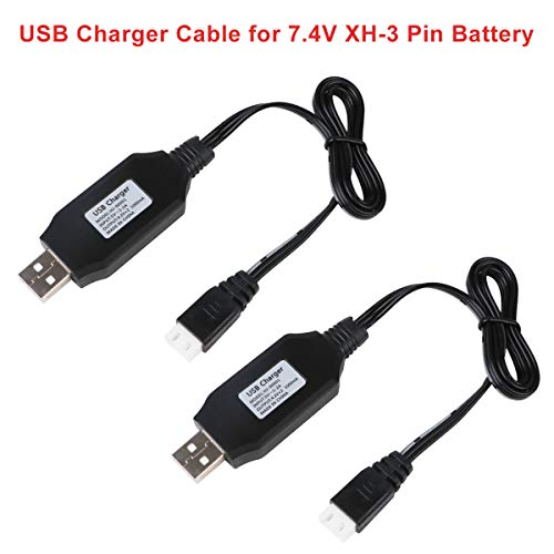 Crazepony-UK 2PCS 7.4V Lipo Battery USB Charger Cable for RC Car 7.4V 2S Lipo Battery