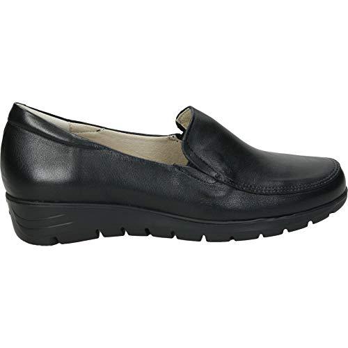 Zapato en Piel con Elasticos y Plantilla Extraible cuñita de 3cm Negro, Numeric_35
