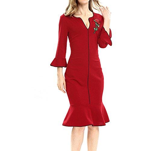 KAXIDY Femme Robe de Soirée Robe de Mariage Cocktail Jupe de Queue Poisson Rouge