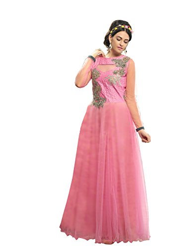 Blissta Baby Pink partywear Anarkali Long Net Gown Dress material