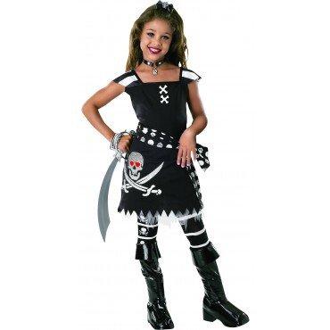 (schwarze Piratin Kostüm für Mädchen Gr. S-L, Größe:M)