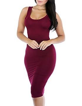 Jinglive Verano Mujer Moda Colores Lisos Lápiz Vestido Apretado Paquete de Cadera Club Vestidos de Partido Coctel...