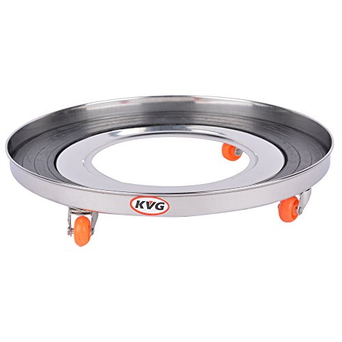 KVG Stainless Steel Gas Cylinder Trolley With Wheels / Gas Trolly / Lpg Cylinder Stand, 28 cms, Round, Silver  available at amazon for Rs.299