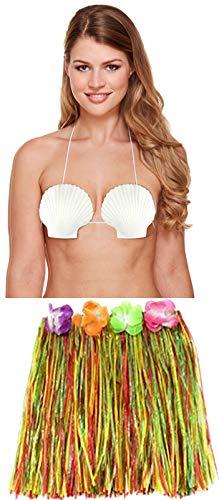 Labreeze Damen Hula Grass Rock Muschel-BH Hawaiian Strand Sommer Party Set