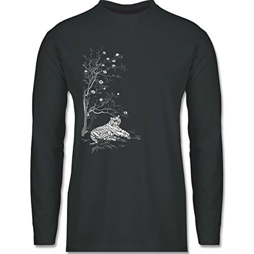 Shirtracer Vintage - Tiger Kirschblüten Baum - Herren Langarmshirt Dunkelgrau