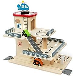 Kledio Kinder Parkhaus/Auto Garage aus Holz FSC 100% mit mechanischem Lift und Rampen, Holzspielzeug für Kinder ab 3 Jahren geeignet