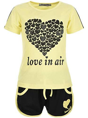 . Set T-Shirt Wende-Pailletten Kurze Shorts Short Sleeve 30022 Gelb 104 ()