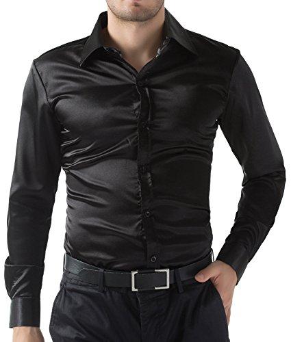 Camicia da uomo slim attillatta manica lunga a tinta unita business taglia s nera