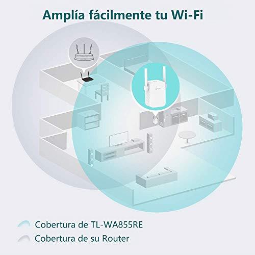 TP- Link TL- WA855RE Amplificador Señal de WiFi Repetidor 300 Mbps Extensor de Red WiFi Enrutador Inalámbrico (Puerto Ethernet 2 antenas externas)