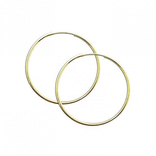 Image of 1 Paar Creolen Creole Ø 20mm Ohr Ohrringe 925 Sterling Silber 24 Karat Gold Echt Schmuck Ohrschmuck Silberschmuck