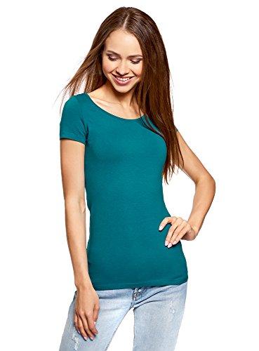 oodji Ultra Damen Tagless Tailliertes T-Shirt Basic (2er-Pack), Grün, DE 38/EU 40/M