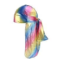uBabamama for Unisex Silk Polyester Bandana Hat Tail Headwrap Headwear Gift Men/Women Hip Hop Cloak Hat Long Tail Pirate Hat