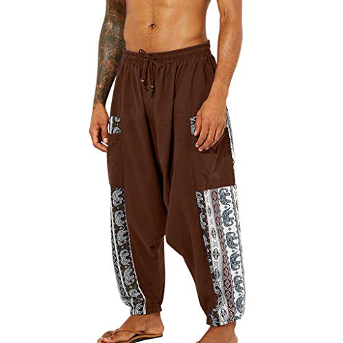 Feinny Hosen Jeans Shorts Hose/Sommer und Herbst Herrenmode Casual Vintage Ethnic Print Baumwolle Linie Bandbreite Pine Laterne Hosen Harlan Pants/M-3XL/Braun (China National Kostüm Für Jungen)