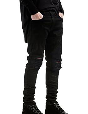 Uomo Strappati Jeans Tempo Libero Rilassato Fori Nel Ginocchio Denim Pantaloni