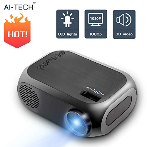 AITECH Mini Proiettore Portatile con Lampadina da 50000 Ore Video Proiettore Portatile 1500 Lumen...