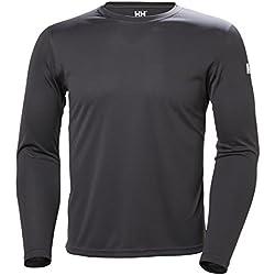 Helly Hansen HH Tech Crew Camiseta, Hombre, Gris (Gris Oscuro 980), Medium (Tamaño del Fabricante:M)