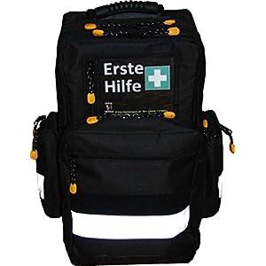 Erste Hilfe Notfallrucksack Farbe schwarz für Sportvereine & Freizeit – Nylonmaterial mit weißen Reflexstreifen