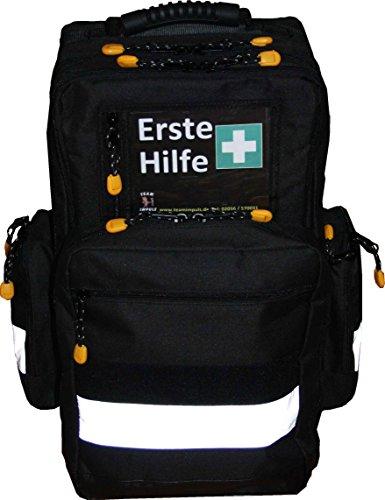 Erste Hilfe Notfallrucksack Farbe schwarz für Sportvereine & Freizeit - Nylonmaterial mit weißen Reflexstreifen