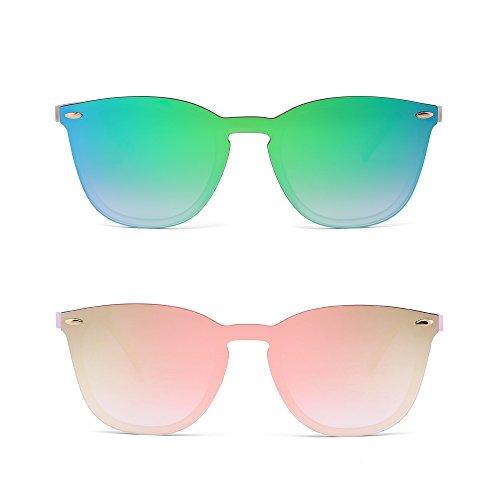 JIM HALO Randlos Sonnenbrille Ein Stück Spiegel Reflektierend Brille für Damen Herren 2 Stück (Grün & Pink)
