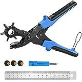 E-More Alicate Sacabocados Agujeros Cinturon - Perforador De Cuero - Punzón Resistente Para Cinturones, Bolsos, Pulseras - 2mm, 2,5mm, 3mm, 3,5mm, 4mm, 4,5mm, blu