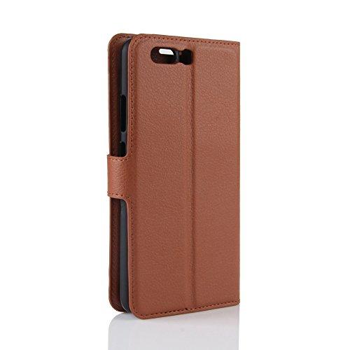 Coque Huawei P10 Plus - EUGO Flip Housse Étui coque de protection en Luxe cuir pour + 1 × Noir Stylet d'Ecran Tactile - Braun Marron