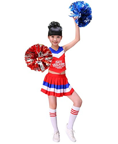 G-Kids Mädchen Cheerleader Kostüm Kinder Cheerleader Uniform Karneval Fasching Party Halloween Kostüm mit 2 Pompoms Socken (Rot, ()