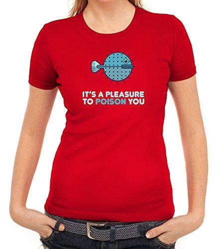 Kugelfisch Damen T-Shirt mit Pleasure To Poison You Motiv von ShirtStreet Rot