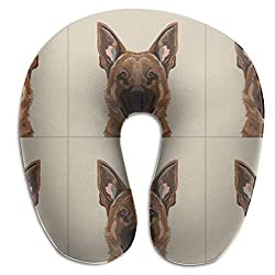 Travel Pillow,German Shepherd with Cut Lines Panel,Pillow Cut Sew Memory Foam U Neck Pillow for Lightweight Support In Airplane,Car,Train,Bus