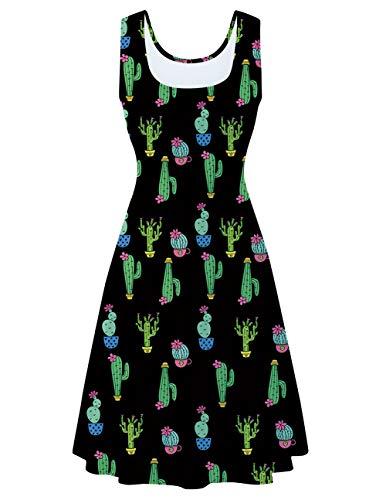 uideazone Damen Kaktus Ärmelloses Strandkleid Kaktus Sommerkleid knielanges Cocktailkleid Tank Kleid