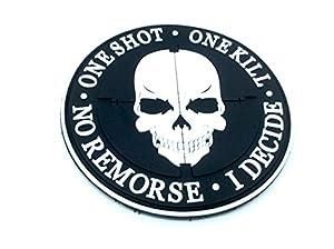 One Shot One Kill No Remorse I Decide Sniper Noir PVC Airsoft Patch