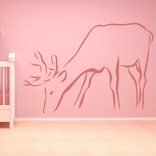 Semplice Deer Outline Stag renne selvatiche animali Wall Sticker Home Decor decalcomania di arte disponibile in 5 dimensioni e 25 colori Grande Verde foglia