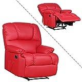 Fernsehsessel aus Kunstleder in rot TV Relaxsessel mit Liegefunktion