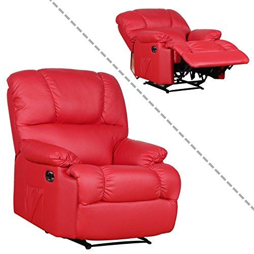 Preisvergleich Produktbild MACOShopde by MACO Möbel Fernsehsessel aus Kunstleder in Rot TV Relaxsessel mit Liegefunktion