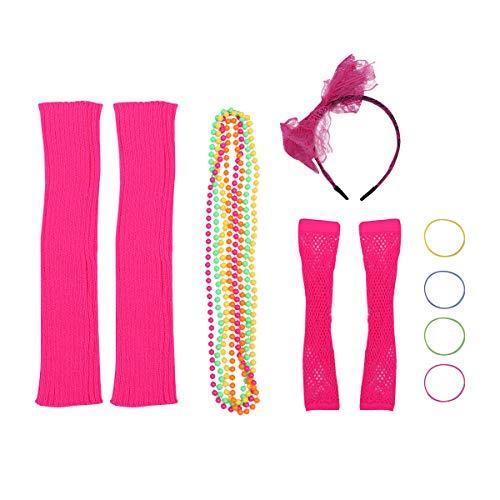 Jahre Up Dress 80er Kostüm Der - Fenical 80er Jahre Kostüm Party Kostüm Set Neon Halsketten Armbänder Fischnetz Handschuhe Bein