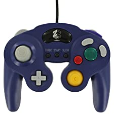ZedLabz wired controller for Nintendo GameCube - compatible vibration gamepad joypad with turbo function - Purple