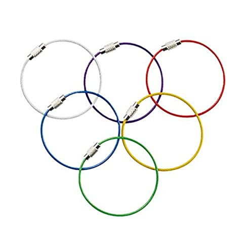 Multicolor Steel Wire keychain, Stainless key ring, Durable Steel Cable Ring, Cable keyring Twist Barrel (6pcs)